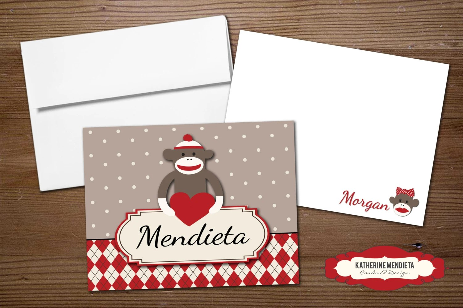 sock monkey note card