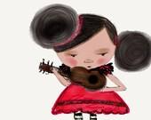 Petite Spanish Guitar Girl,  nursery wall decor, whimsical art, digital drawing, A5 - HYSSOPARTS