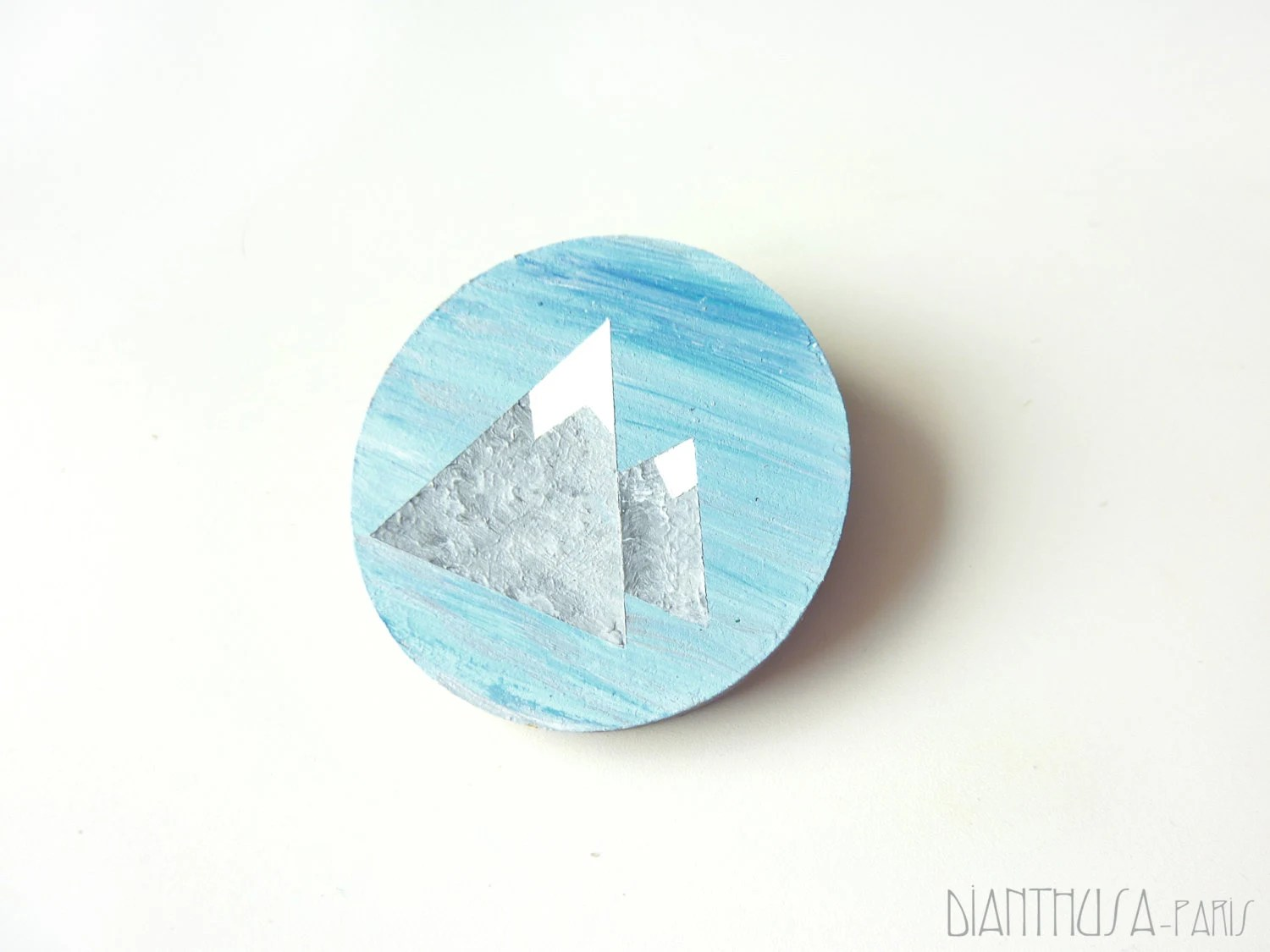 Geometrical brooch: Mountain and snow  Wooden brooch winter brooch. Icy blue, white grey Handpainted brooch