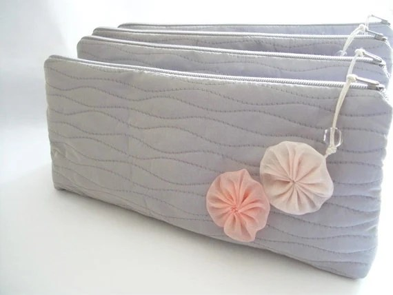 Weddings Bridal Accessories Clutches Bridesmaids Gift Set of 4 Cosmetic bags Pastel Pink Flowers - DecoZoneStudio