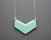 Small Wooden Chevron Necklace (Mint - White)  Modern Handmade Jewellery - FawnAndRose