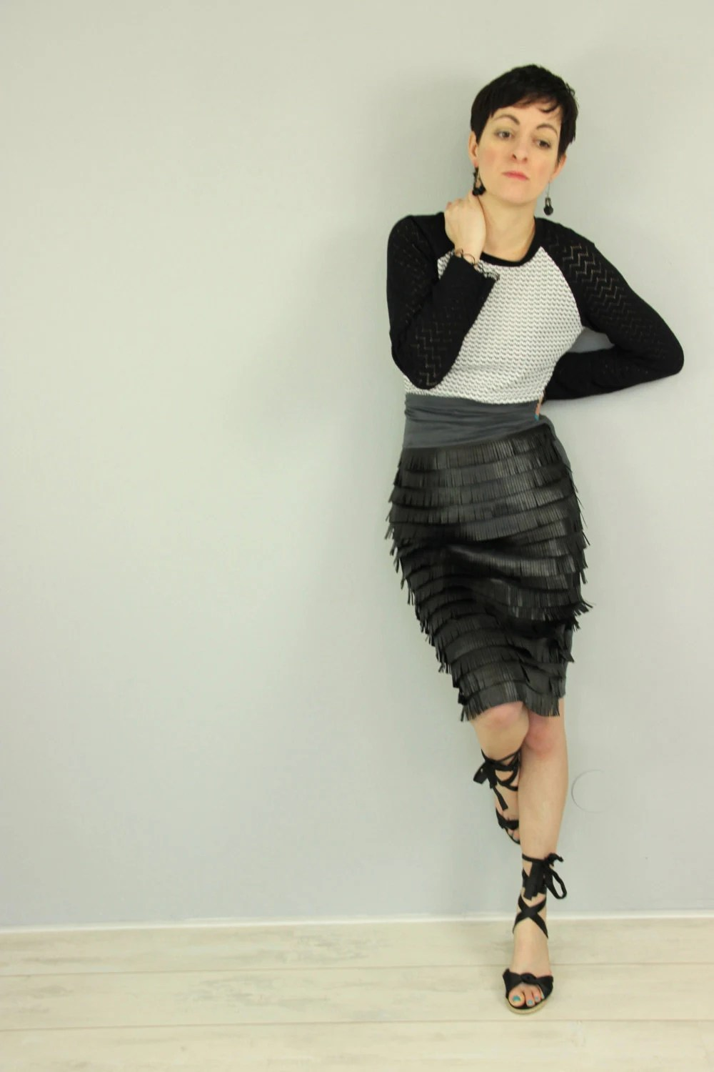 Faux leather skirt, black leather fringe skirt, gray and black high waist skirt, pencil skirt - Bartinki