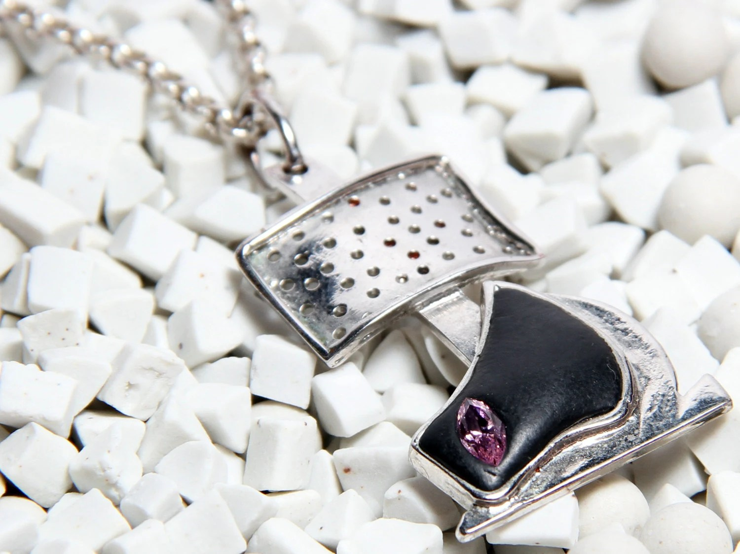 Contemporary, hand made silver sailboat necklace with Swarovski stone (pink), golden coated and with black paste - DaysbyDILEKAKAR