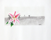 Original painting on canvas, Mixed media art, pink flower - hanikj
