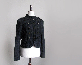 Black military jacket, vintage triple breasted jacket, army style black denim jacket - plot