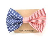 Patriotic Red, White, and Blue Hair Bow Barrette - NeonLoveDesignsAcc