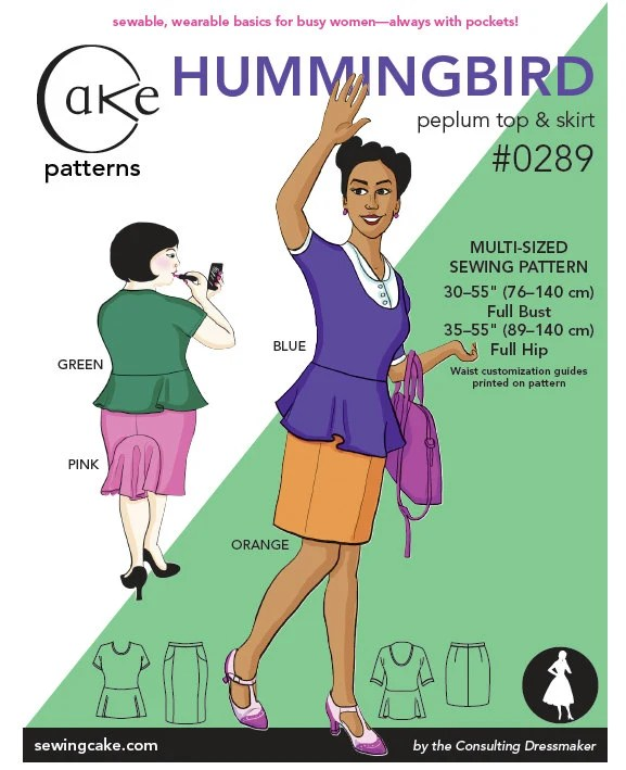 Hummingbird Peplum Top & Straight Skirt Cake Patterns