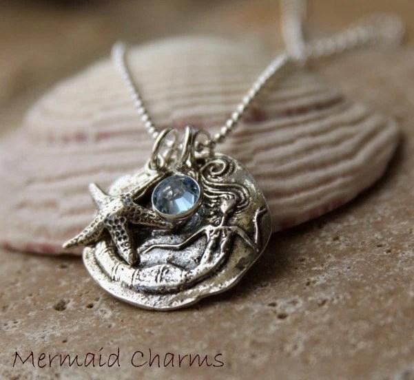 Mermaid pendant -Sterling Silver Mermaid Charm Necklace