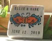 Save the Date Magnet, Tropical Fish Kissing Design, Set of 25, Keepsake Wedding Favor