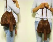 ON SALE   leather handbags--- Fringe Addict in Brown