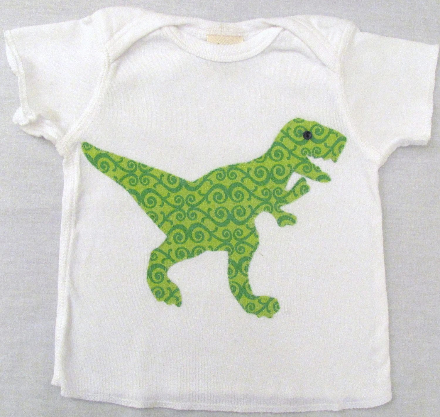 Organic Swirl Green T Rex Applique on an Organic Baby Tee - 12 Months