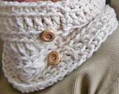 Crochet Cowl - The Chase with Wooden Buttons in Oatmeal