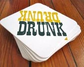 DRUNK letterpress printed coasters- set of 10 PACKERS colors - amandamello