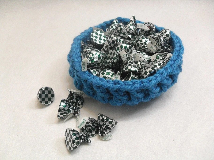 Blue Crochet Candy Dish - AddSomeStitches