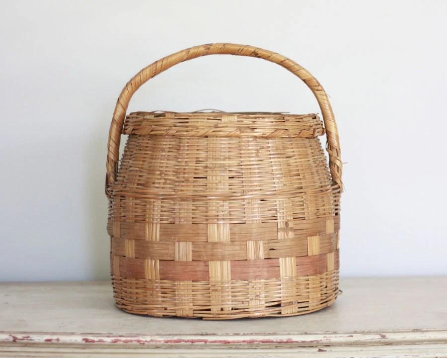Rustic vintage storage basket with lid - AlicesLookingGlass