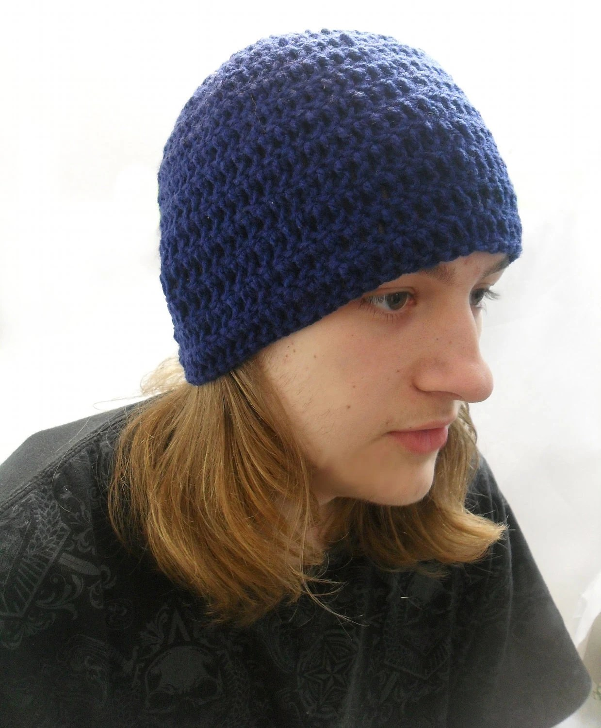 Crochet Mens Beanie Simple Man in Navy Blue Medium / Large - AddSomeStitches