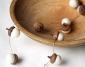Felted Acorn Garland  - ten handfelted acorns on hemp string