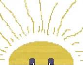 Cross Stitch Pattern - Good Morning Blue Eyed Sunshine 5 x 7 - oneofakindbabydesign