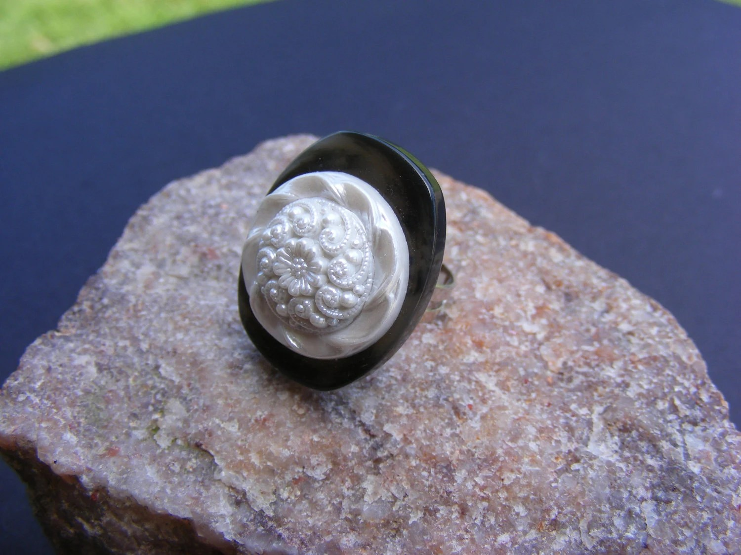 Black and White Vintage Button Ring
