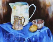 "MOTHERS DAY, Painting, Original, Still Life, Bright, Contemporary, ART, ""Jugs and a Lemon"", Australian Artist Kylie Fogarty"