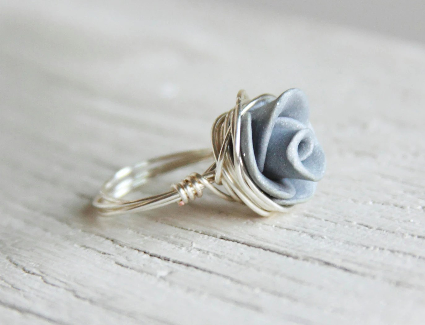 Rose Ring Grey Wire Wrapped - Choose Your Color Polymer Clay Rose Ring Sterling Silver Wire Wrapped