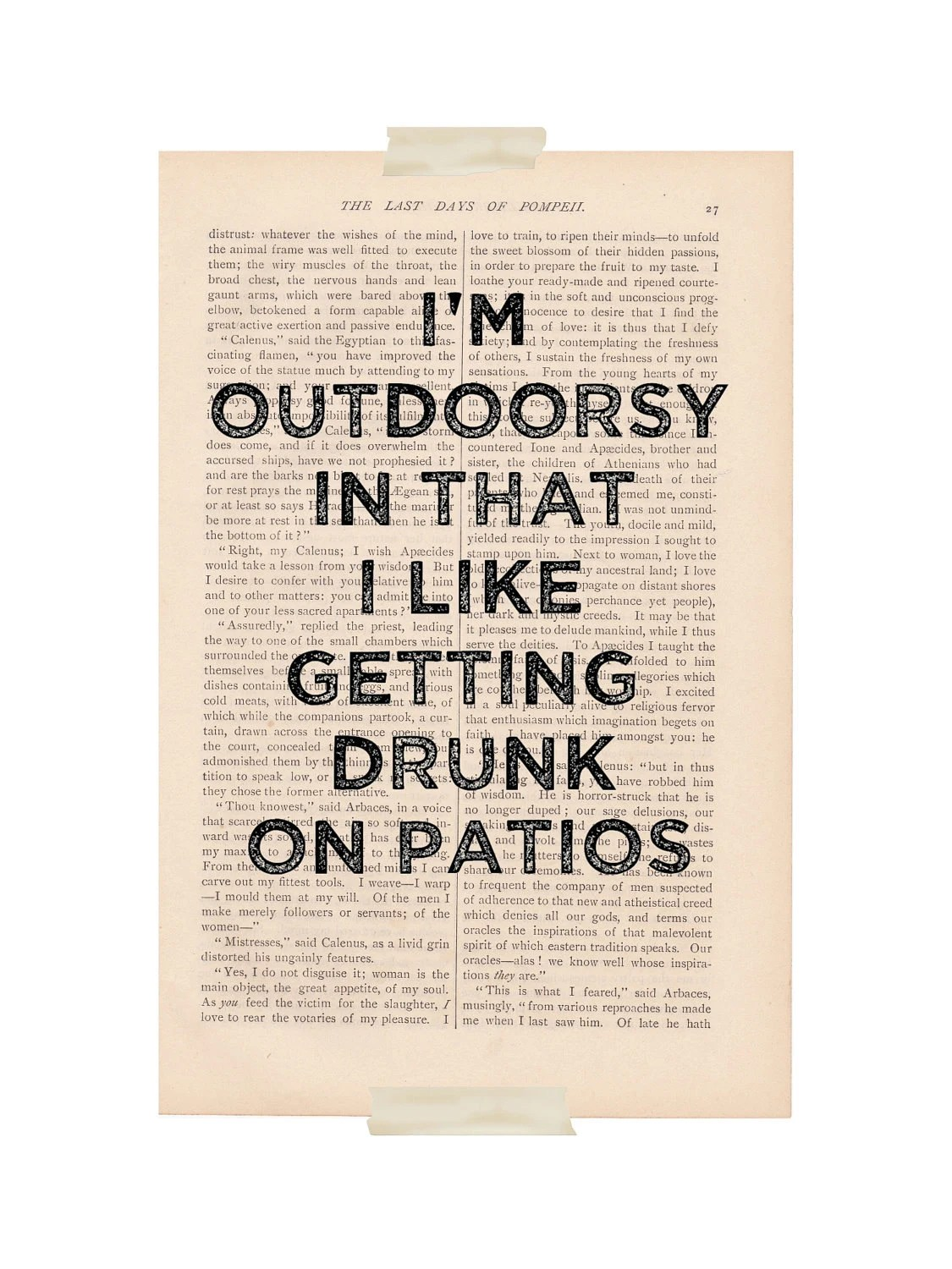 dictionary art vintage I'm OUTDOORSY In That I Like Getting DRUNK on PATIOS - vintage book page print - funny quote dictionary art - ExLibrisJournals