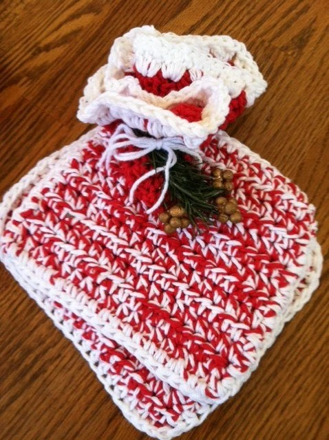 2 Pot holders / Hot pads AND a matching dishcloth - handmade red and white