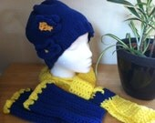 Blue and yellow winterset - hat beanie with flowers, matching fingerless gloves and cozy scarf
