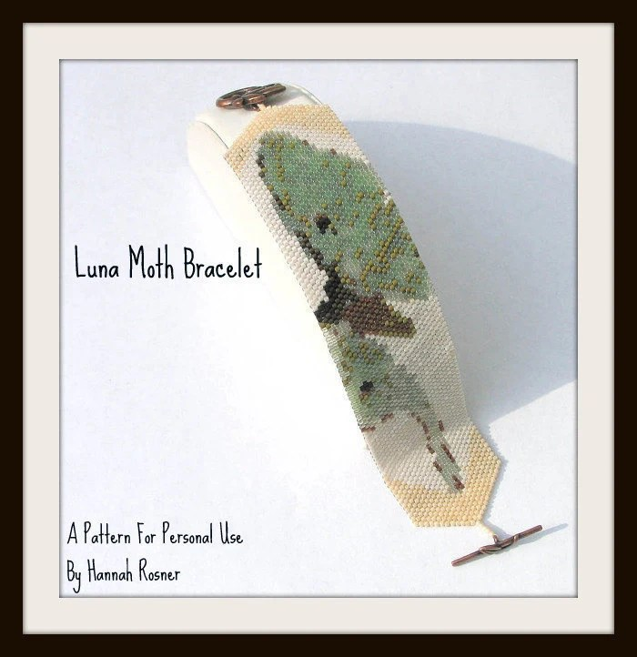 Hannah Rosner cuff bracelet bead pattern peyote stitch luna moth