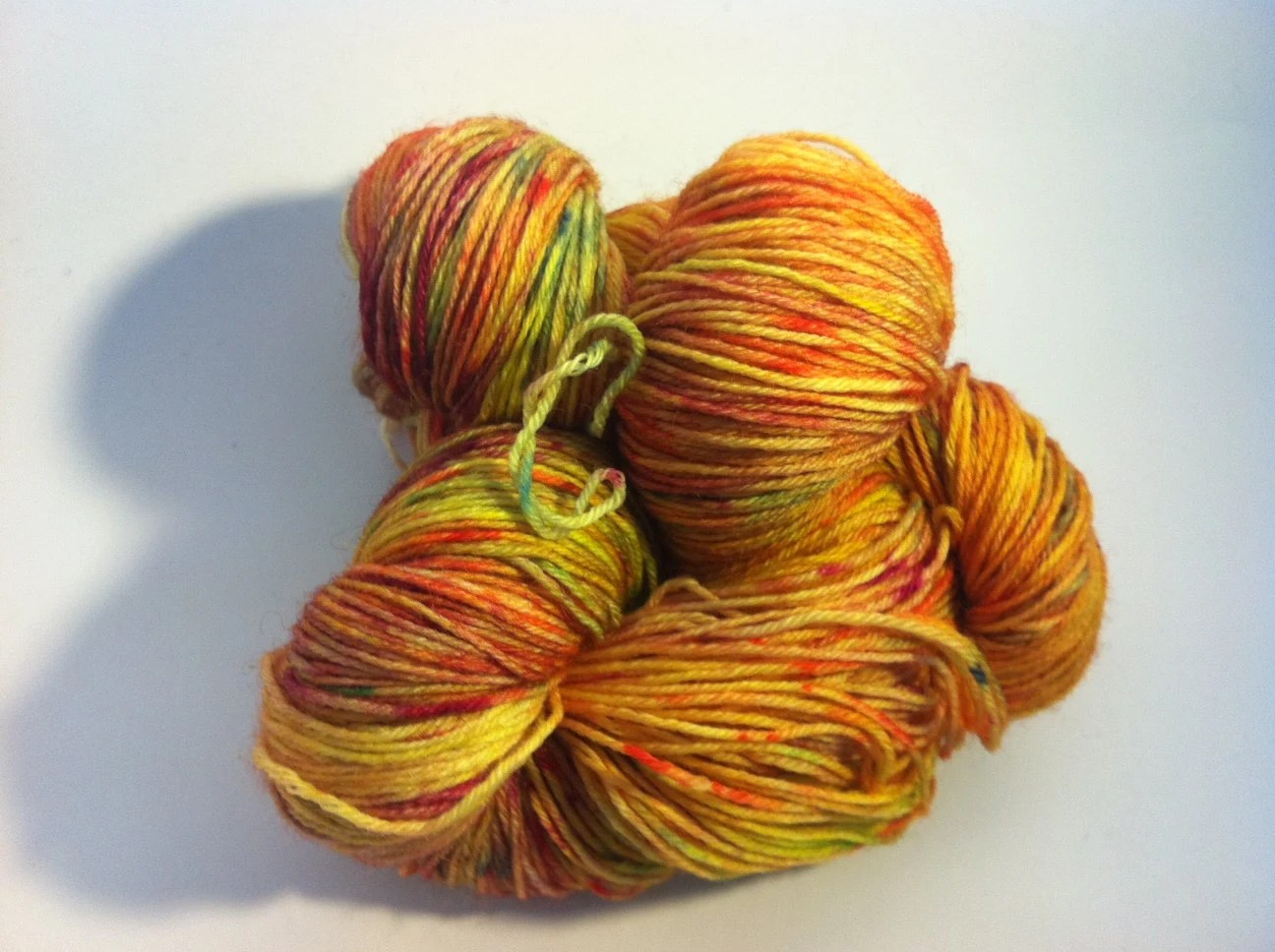 Yellow Wildflower -  hand dyed variegated British wool sock yarn for knitting, lace