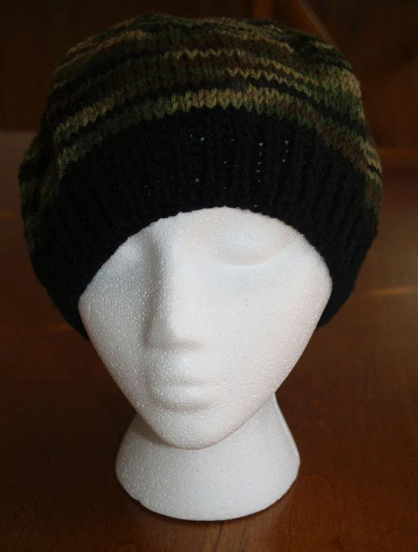 Green Camo Slouch Chemo Cap Winter Hat Knit Hat