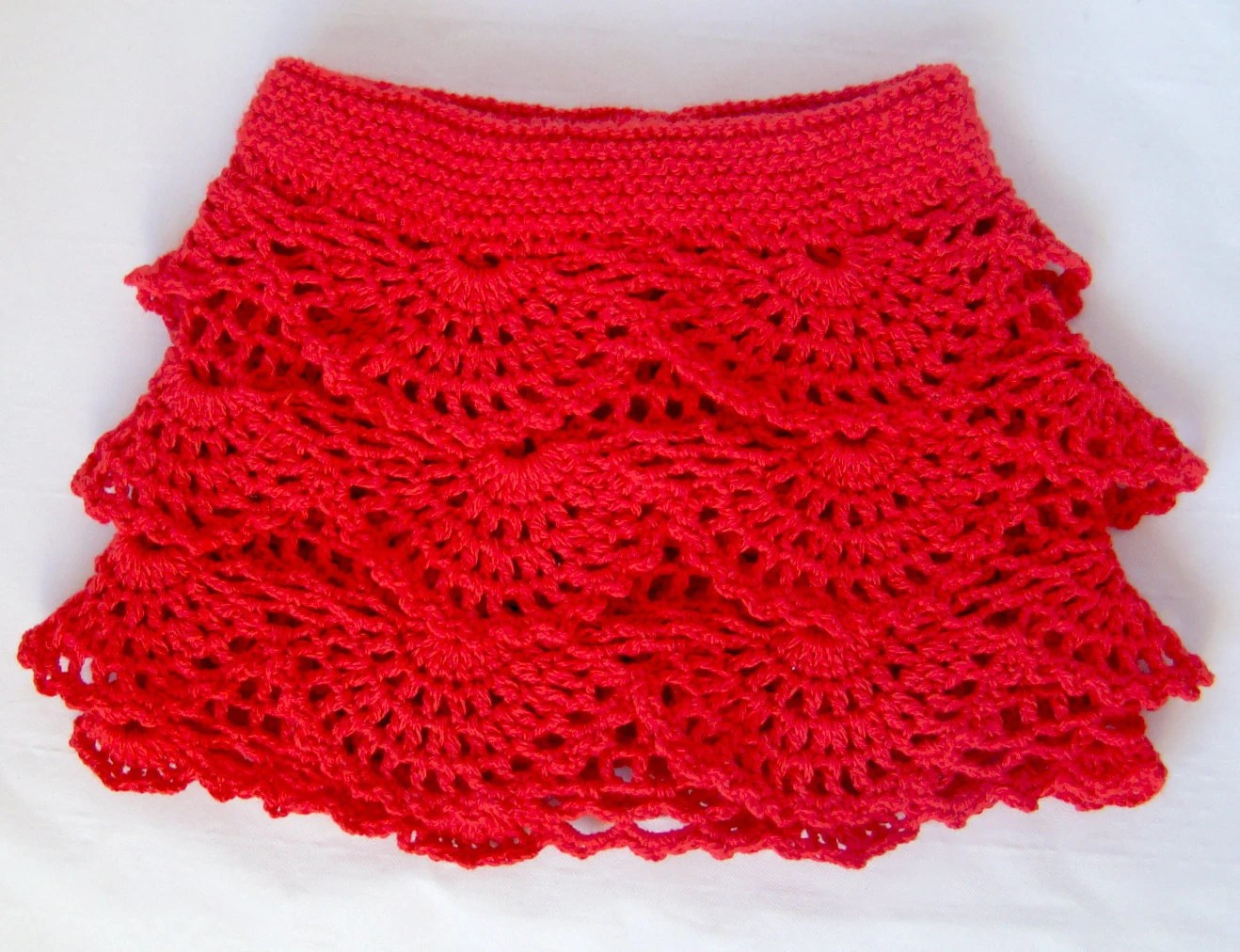 Red Crochet Toddler Ruffle Skirt