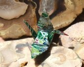 Origami Crane Broach - Dark Green with Light Green, Gold, and White Flowers