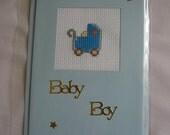 cross stitch baby boy card