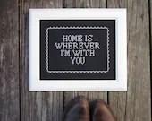 home is... framed x-stitch art NEW 8X10 size - ChezSucreChez