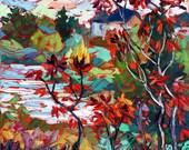 Original Fine Art Oil Landscape Palette knife Painting Impasto textured Red Leaves by Elizabeth Elkin - trueartstudio