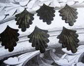 Grungy Patina Brass Scalloped FAN Drops Jewelry Findings ONE PAIR