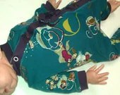 OOAK upcycled newborn one piece girl teal and plum floral