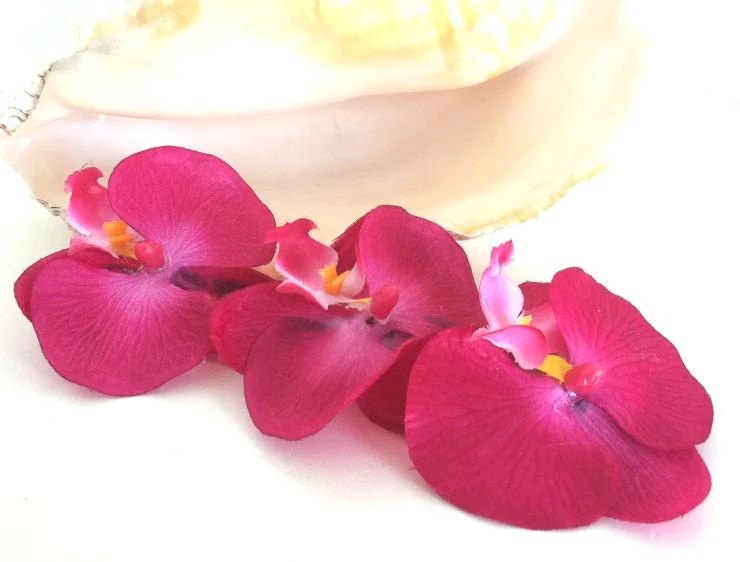 Hawaiian Orchid Hair Clips, Hula, Wedding, Bridal, Luau, Hot Pink