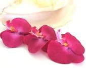 Hawaiian Orchid Hair Clips, Hula, Wedding, Bridal, Luau, Hot Pink