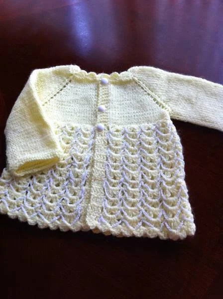hand knitting baby cardigan / Baby sweater size 3 months to 9months possible 12 months  READY TO SHIP