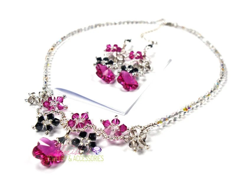 Blossom jewelry set  (Jet-Fuchsia-Crystal Satin) - Beaded Swarovski Crystal necklace, Bracelet, Earring Set
