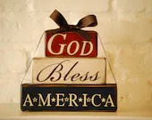 "God Bless America small stack w/ribbon 9"" x 7.5"" - 19seventy5designs"