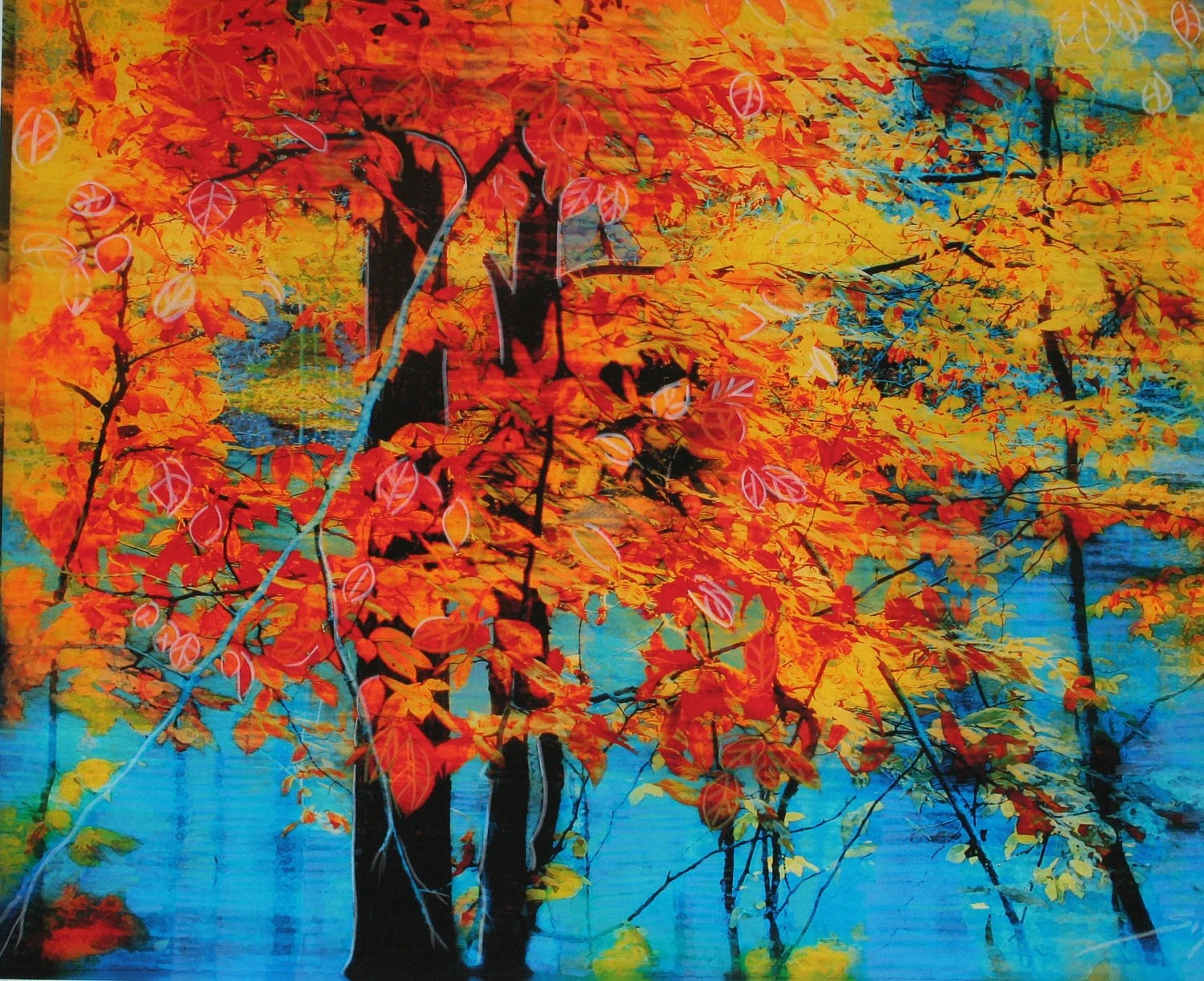 Autumn tapestry, 8x10 Original Signed Fine Art altered photograph with painting and drawing