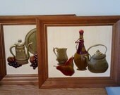 "Mid-century ""Copper Craft"" framed pictures-vintage set of two retro hand-tooled Copper Craft kitchen art"