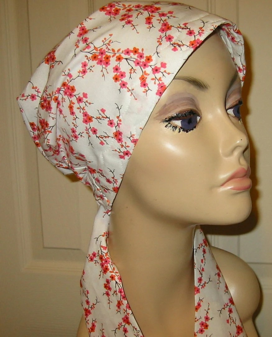 Cherry Blossoms  Chemo Scarf, Hat, Cancer Hat, Hijab, Alopecia