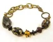Chunky Garnet Bracelet, Chunky Bead Bracelet, Bead and Chain Bracelet, dZi Agate Bracelet, Gemstone Bracelet