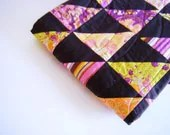 Spring Baby Quilt - Toddler blanket - Dreaming in French designer fabric - pink purple lime orange