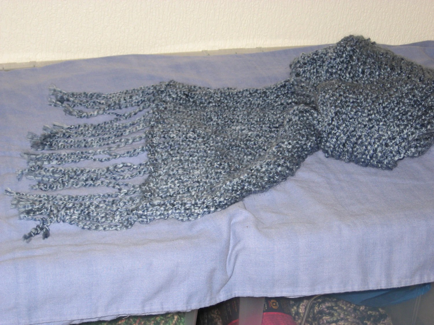 Large Hydrangea Fringed Scarf Hand-Knitted