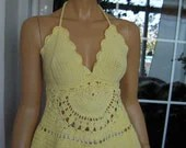 Handmade crochet summer top/corsage/mini dress in pale yellow cotton ''Attiki''OOAK by golden yarn